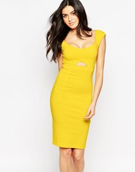 Vesper Sienna Midi Dress With Keyhole Cut Out Yellow