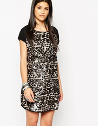 Rock And Religion Animal Printed Sequin Dress With Chiffon Sleeves Black