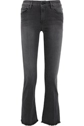 Frame Le Crop Mini Frayed Mid Rise Bootcut Jeans Dark Gray