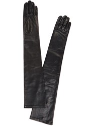 Agnelle Glamour Long Black Leather Gloves