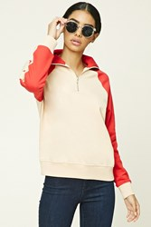 Forever 21 Colorblocked Zip Pullover Nude Red