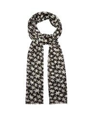 Saint Laurent Star Print Wool Scarf Black Multi