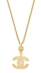 Wgaca What Goes Around Comes Around Chanel Fretwork Cc Necklace Previously Owned Gold