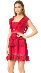 Self Portrait Three Tiered Dress Raspberry Red