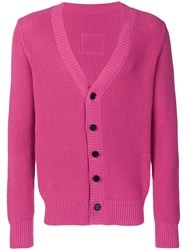 Lc23 Contrast Button Cardigan Pink And Purple