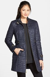 Women's Via Spiga Faux Leather Trim Stand Collar Quilted Coat
