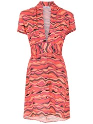 Amir Slama Printed Short Dress Red