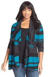 Plus Size Women's Sejour Merino Blend Drape Front Cardigan Black Teal Stripe