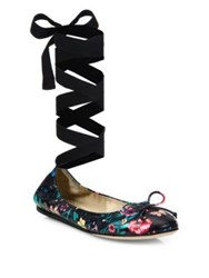 Saks Fifth Avenue Floral Print Leather Ankle Wrap Ballet Flats