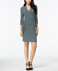 Thalia Sodi Printed Split Neck Belted Dress Only At Macy's