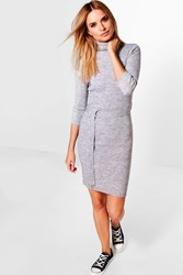 Boohoo Turtle Neck Belted Rib Knit Dress Grey