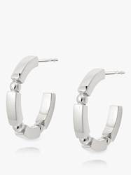 Daisy London Stacked Bead And Bar Hoop Earrings Silver