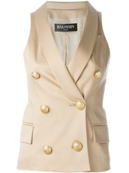 Balmain Double Breasted Waistcoat Nude And Neutrals