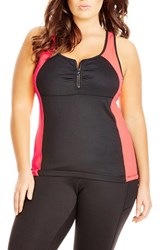 City Chic Plus Size Women's Zip Front Racerback Tank Black Paradise