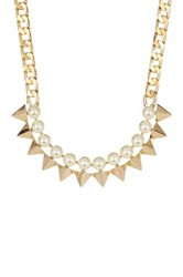 Rebecca Minkoff Faux Pearl And Spike Collar Necklace Metallic