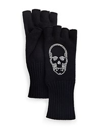 Aqua Fingerless Gloves With Faceted Skull Black W White Faceted Crystals
