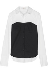 Tibi Two Tone Cotton Poplin Shirt White