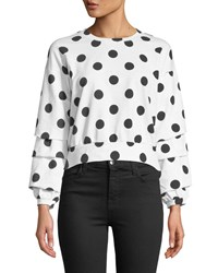 Romeo And Juliet Couture Polka Dot Gathered Sleeve Back Tie Tee White Pattern