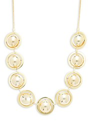 Noir Bar And Ring Beaded Necklace Gold