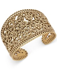 Lucky Brand Gold Tone Flower And Lace Cuff Bracelet