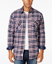 Weatherproof Vintage Men's Big And Tall Faux Fur Lined Plaid Flannel Shirt Jacket Only At Macy's Midnight