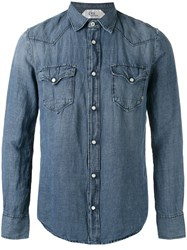 Cycle Snap Button Shirt Men Linen Flax Lyocell Xl Blue