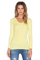 Atm Anthony Thomas Melillo Rib V Neck Long Sleeve Tee Yellow
