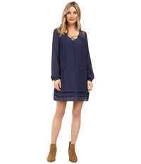 Brigitte Bailey Sigrid Long Sleeve Dress With Lace Detail Navy Women's Dress