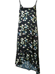 Paco Rabanne Daisy Print Slip Dress Black