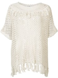 Trina Turk Sheer Crochet Top Women Cotton Xs Nude Neutrals