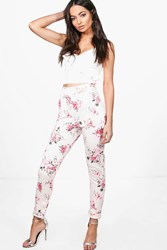 Boohoo Aura Floral Skinny Stretch Trousers Pink