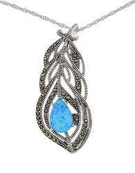Lord And Taylor Sterling Silver Faux Opal Feather Necklace Blue Silver