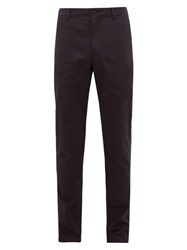 Burberry Cotton Blend Gabardine Chino Trousers Navy