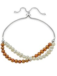 Lord And Taylor 5Mm Faux Pearl Sterling Silver Bracelet Silver Multi