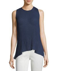 Laundry By Shelli Segal Solid Pleated Chiffon Top Navy