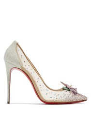Christian Louboutin Feerica Crystal Flower Embellished Pumps White Multi
