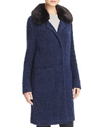 Basler Faux Fur Collar Boucle Coat Blue