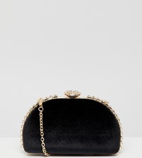 True Decadence Black Embellished Hard Clutch