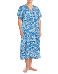 Miss Elaine Floral Mumu Duster Robe Blue