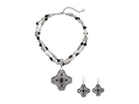 Mandf Western Engraved Cross Necklace Earrings Set Silver Jewelry Sets