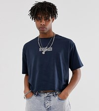 Heart And Dagger Cropped T Shirt In Navy With Logo