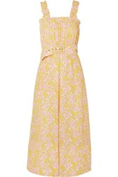 Faithfull The Brand Dolores Belted Floral Print Crepe Jumpsuit Pastel Yellow