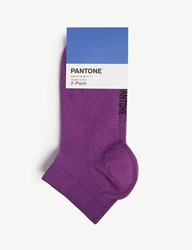 Pantone Ankle Cut Cotton Blend Socks Pack Of Two Lilac