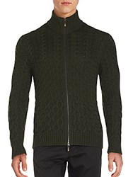 Etro Mixed Knit Wool Zip Cardigan Green