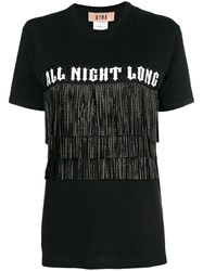 Gina Printed Fringed T Shirt Black