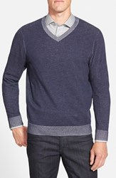 Men's Big And Tall Nordstrom Regular Fit V Neck Cotton Sweater Navy Peacoat Combo