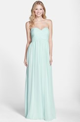 Women's Donna Morgan 'Laura' Ruched Sweetheart Silk Chiffon Gown Beachglass