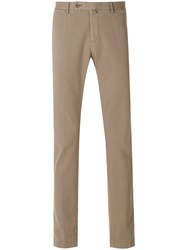 Hackett Straight Leg Trousers Cotton Spandex Elastane Nude Neutrals