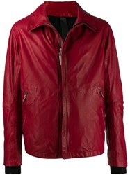 Isaac Sellam Experience Zip Front Leather Jacket Red