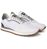 Brunello Cucinelli Suede Trimmed Leather And Mesh Sneakers White